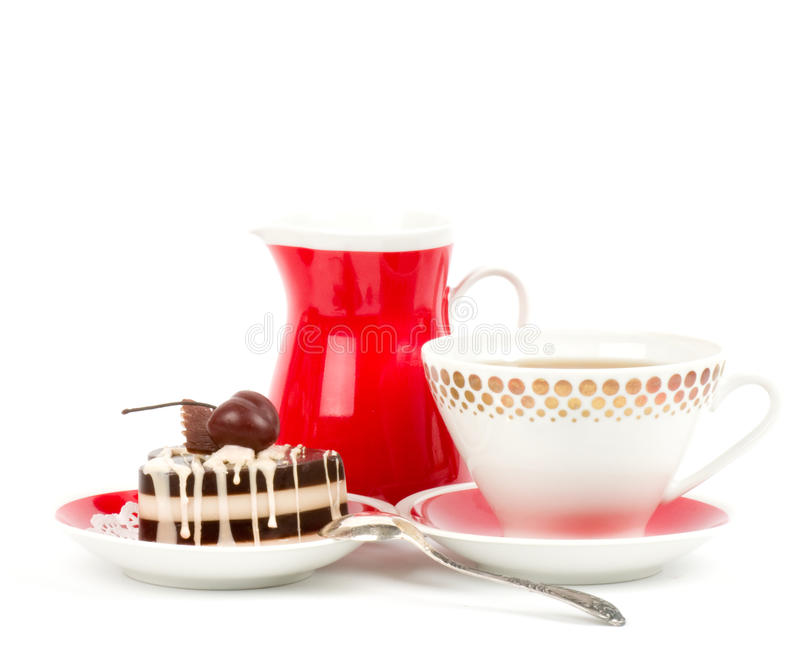 Sweet cake with cherry. Dessert - sweet cake with cherry on a plate on background stock photography