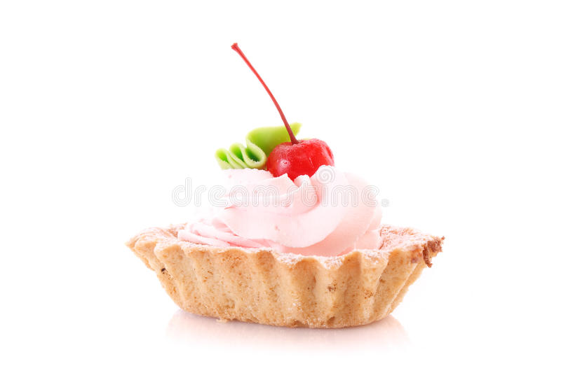 Sweet cake with cherry isolated. On white royalty free stock photo