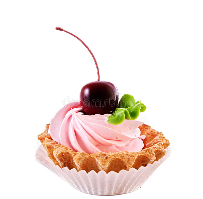 Sweet cake with cherry isolated. On white stock images
