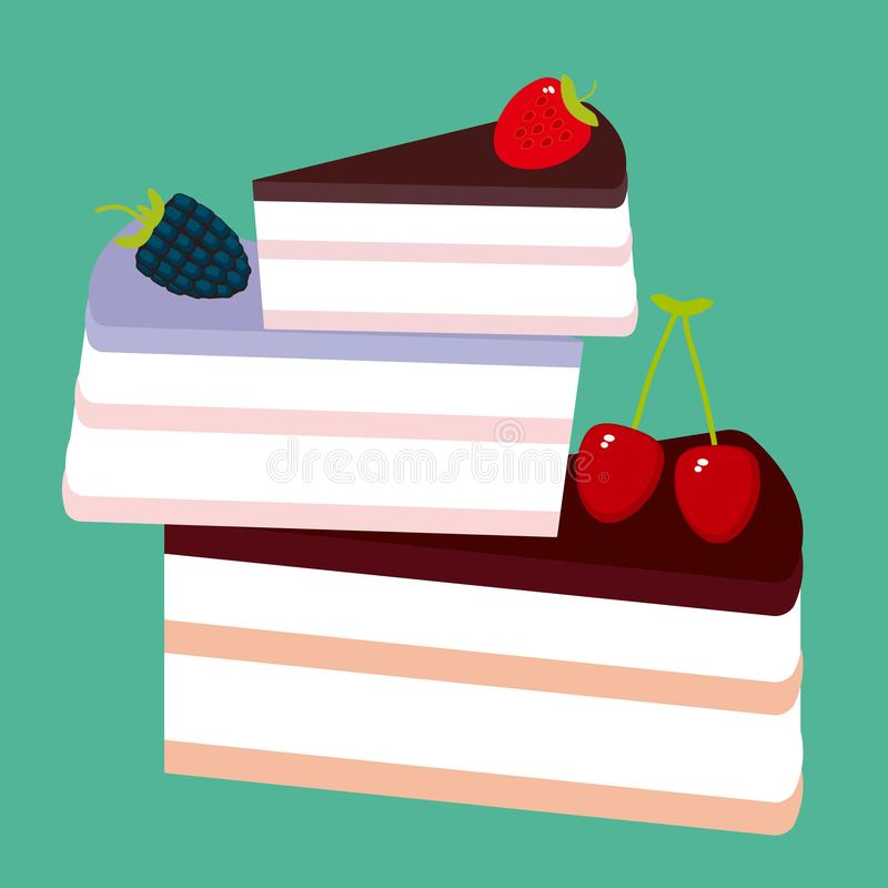 Sweet cake decorated with fresh berry, pink cream and chocolate icing, piece of cake, pastel colors on green background. Vector. Illustration stock illustration
