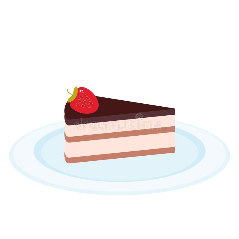 Sweet cake decorated with fresh Strawberry, pink cream and chocolate icing, piece of cake on the blue plate, pastel colors on whit. E background. Menu Card royalty free illustration