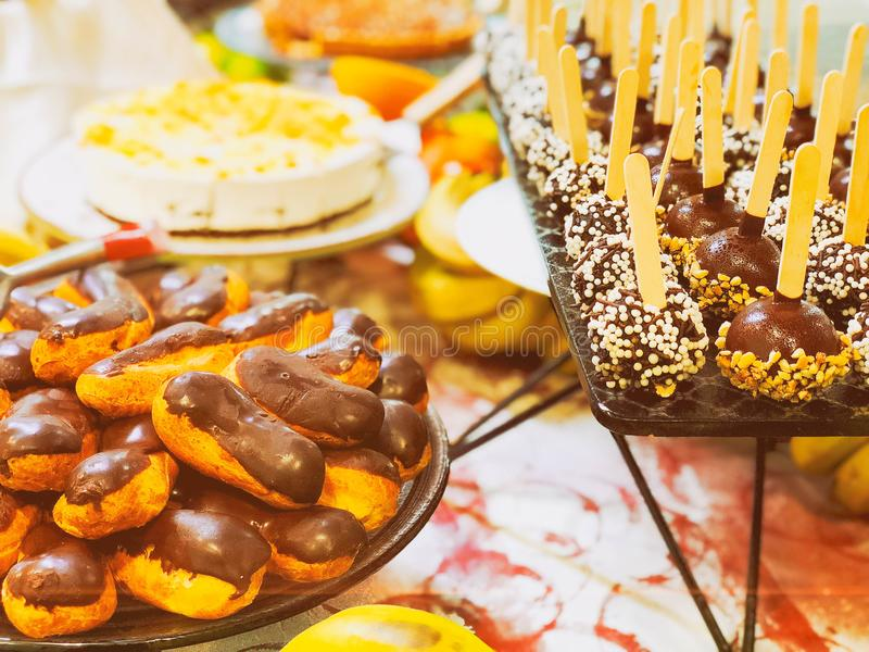 Sweet cake and dessert, delicious appetizers for party stock photo
