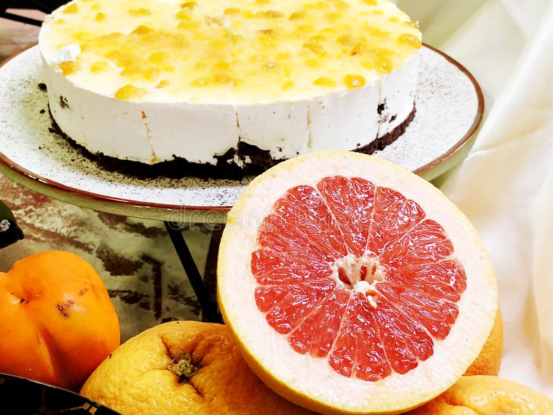 Sweet cake and dessert with grapefruit, delicious appetizers for party royalty free stock images