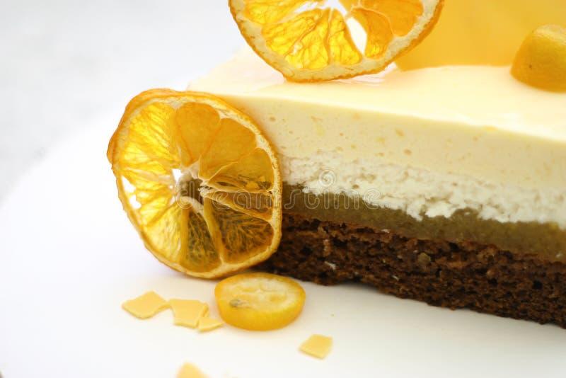 Sweet cake with orange background food lemon royalty free stock photo
