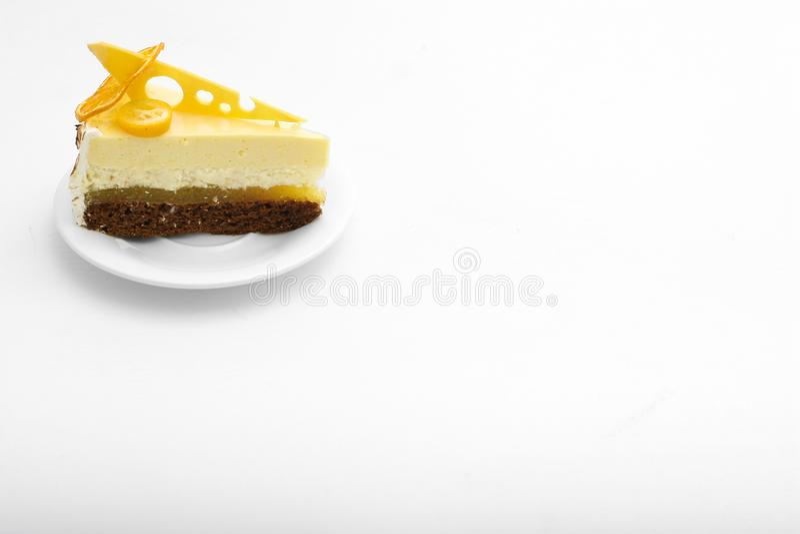 Sweet cake with orange background food lemon royalty free stock images
