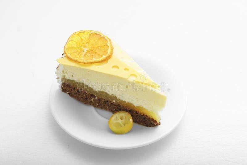 Sweet cake with orange background food lemon royalty free stock photography