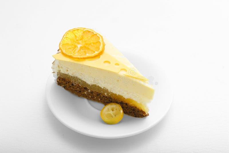 Sweet cake with orange background food lemon stock images
