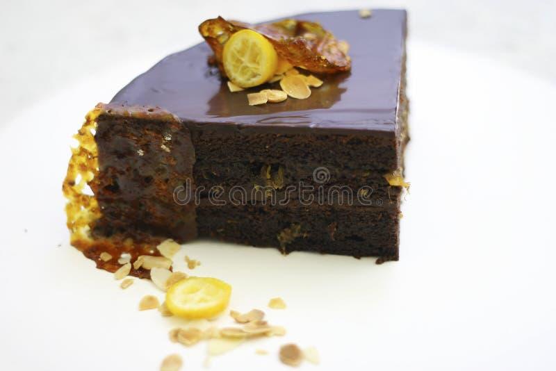 Sweet cake with orange background food lemon stock photos