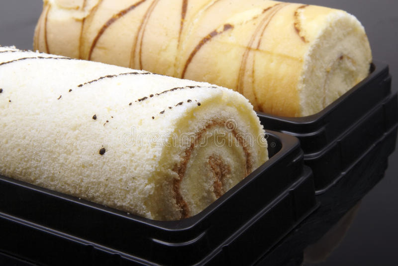 Sweet cake roll close-up stock photos