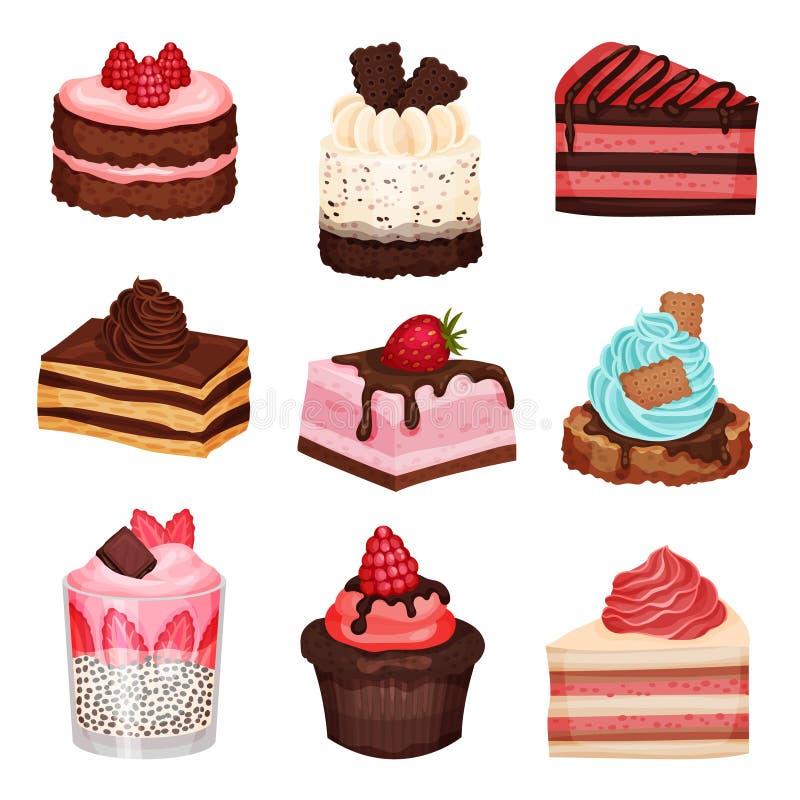 Sweet Cake Slices and Cupcakes Collection, Delicious Desserts med färska Berries Vector Illustration vektor illustrationer