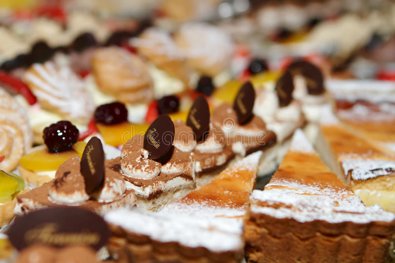 Sweet Cakes. Many Sweet Cakes on the Table stock image