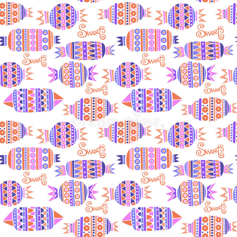 Sweet candies set. Colorful Vector Seamless Pattern. royalty free illustration