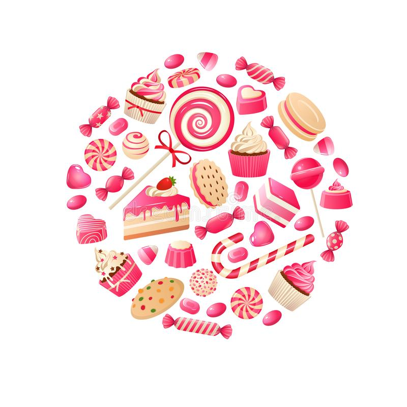 Sweet candy. Chocolate bars, lollipop bonbon and marmalade candied fruit, caramel candies kids desserts. Flat vector. Colorful cute swirl sugar circle toffee royalty free illustration