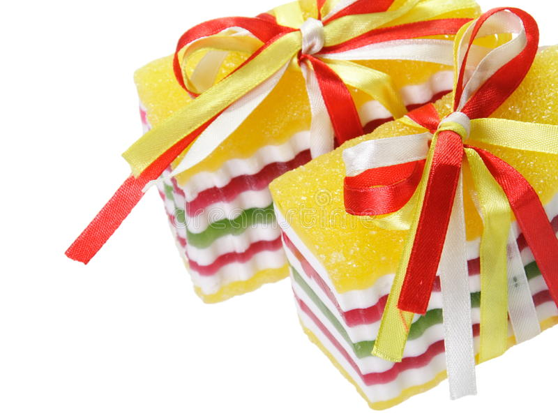 Sweet Candy Jellies with Ribbons stock photos