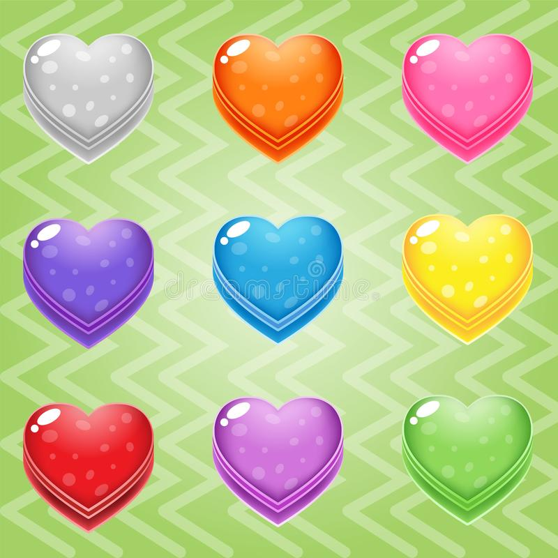 Sweet candy match3 Heart block puzzle button glossy jelly. 2d asset for user interface GUI in mobile application or casual video game. Vector for web or game stock illustration