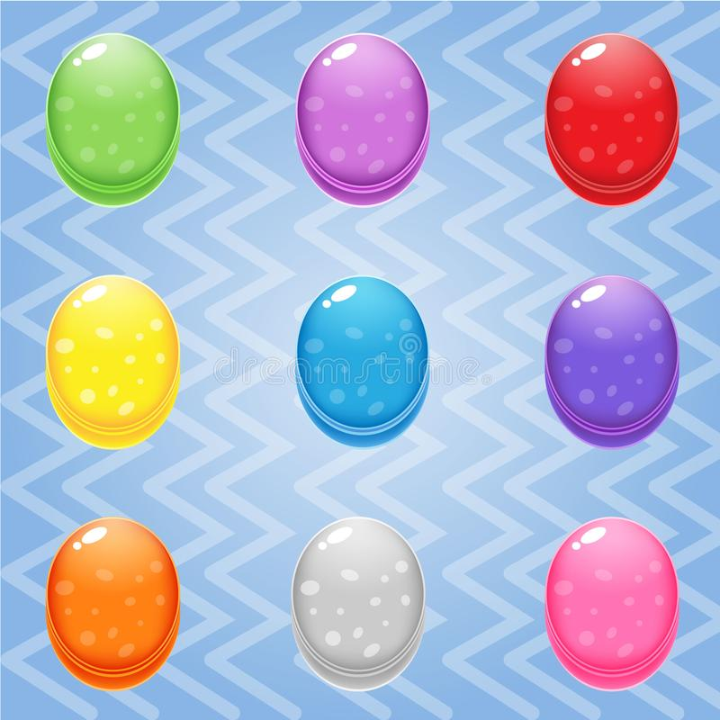 Sweet candy match3 Oval block puzzle button glossy jelly. royalty free illustration