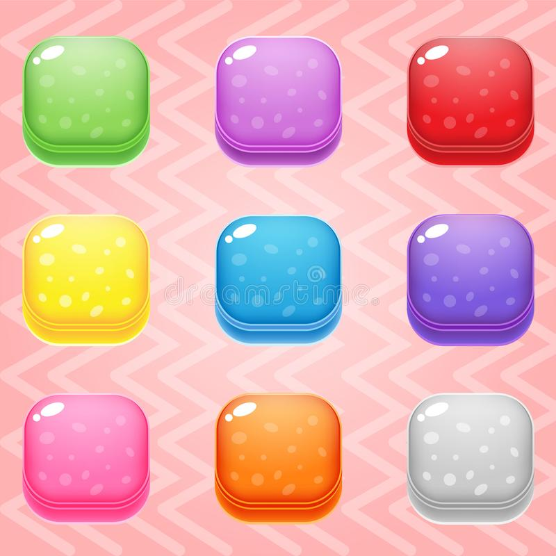 Sweet candy match3 Square block puzzle button glossy jelly. 2d asset for user interface GUI in mobile application or casual video game. Vector for web or game royalty free illustration
