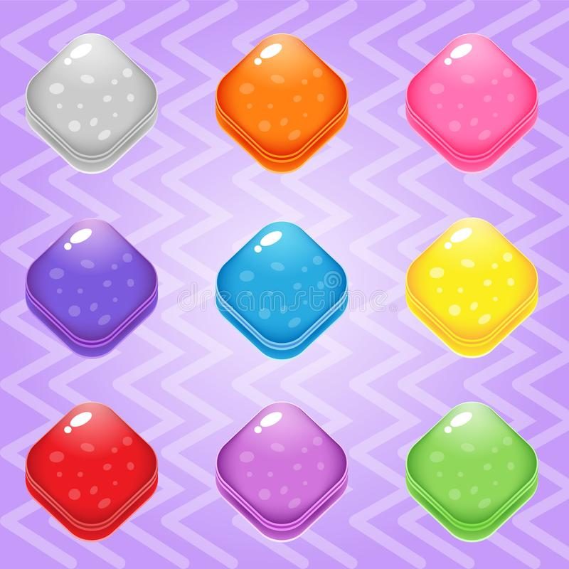 Sweet candy match3 Trapezoid block puzzle button glossy jelly. vector illustration