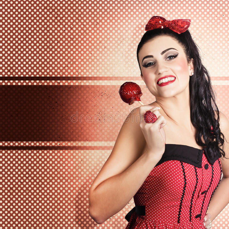 Download Sweet Candy Pinup Girl With Vintage Toffee Apple Stock Photo - Image: 31579738