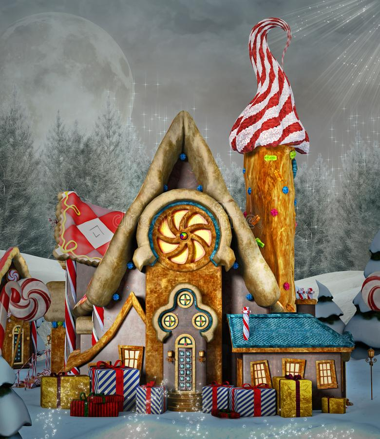 Sweet candy town at Christmas time. Sweet candy village with Christimas gift boxes - 3D illustration vector illustration