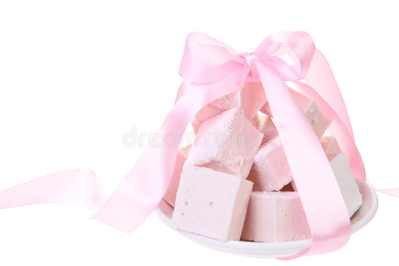 Sweet Candy Turkish Delight. With Pink Ribbon stock photos