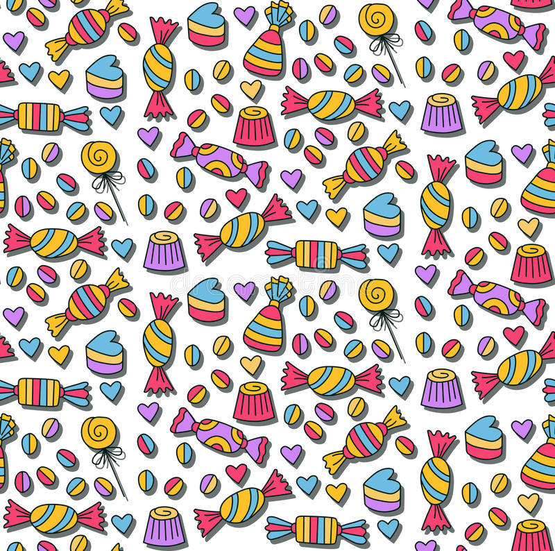 Sweet candys doodles seamless pattern. Sweet candys colorful doodles seamless pattern stock illustration