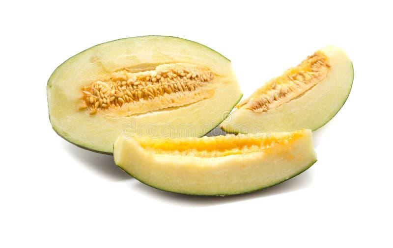 Sweet cantaloupe melon isolated on white.  royalty free stock image