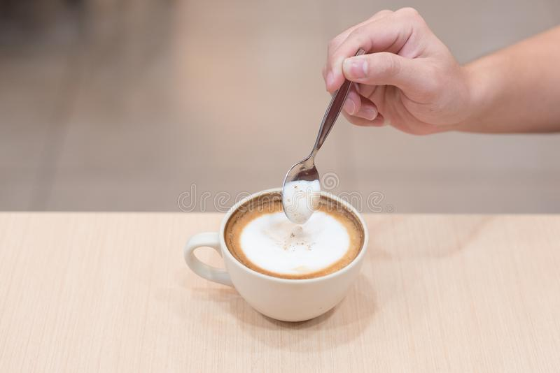 Sweet Cappuccino. Coffee is a delicious drink, sweet taste, suitable for relaxing stock photography