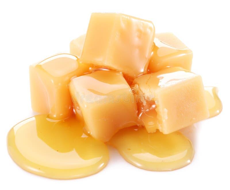Sweet caramel candies. stock photo