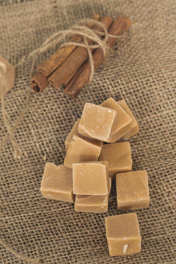 Sweet caramel. Candy with cinnamon stock photography