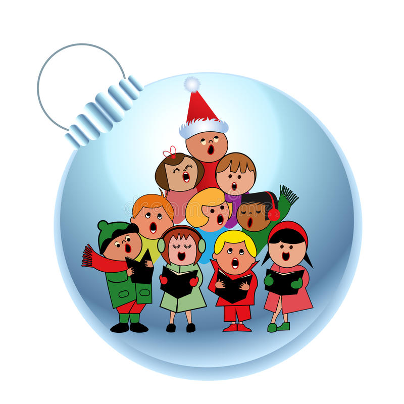 Download Sweet carolers on a bauble stock vector. Image of friends - 27481496