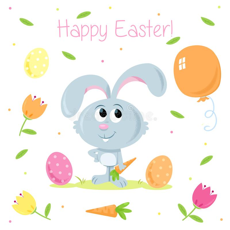 Funny Little Easter Bunny - Easter party elements - For greeting cards and party invitations royalty free illustration