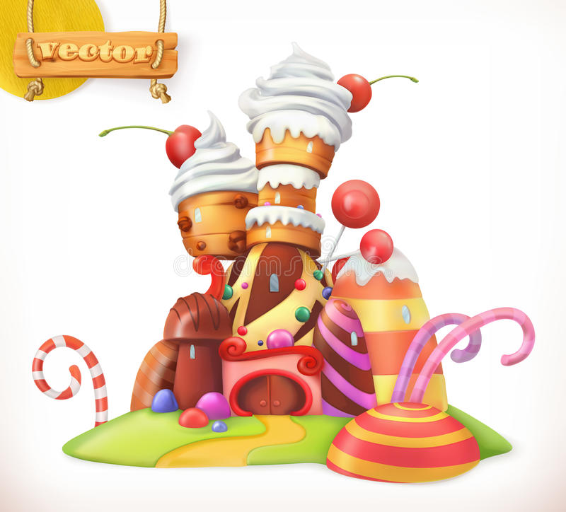 Sweet castle. Gingerbread house. 3d vector icon. Sweet castle. Gingerbread house. Cake, cupcake, candy. 3d vector icon stock illustration