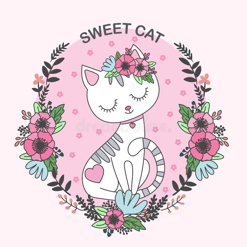 Free Sweet Cat. Cute, Cartoon Cat. In The Frame Of Flowers Stock Photo - 133037400
