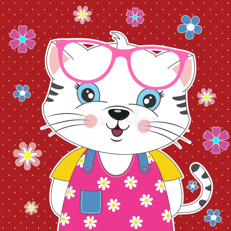 Free Sweet Cat Girl In Sunglasses With A Beautiful Floral Decoration. Stock Photos - 163644693
