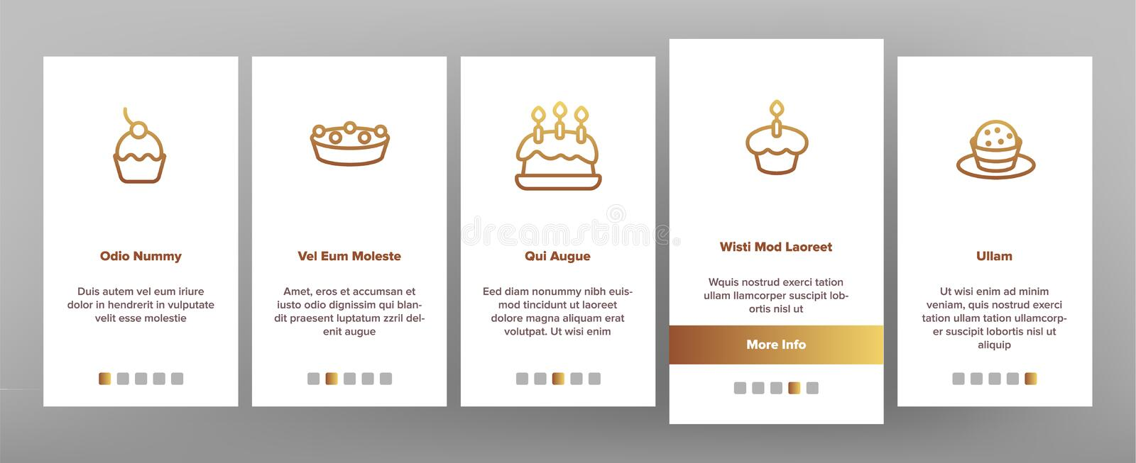 Sweet Cheesecakes, Bakery Vector Onboarding Mobile App Page Screen. Pastry. Birthday Party Cakes, Biscuits, Pies. Dessert Cookies. Confectionery Illustrations royalty free illustration