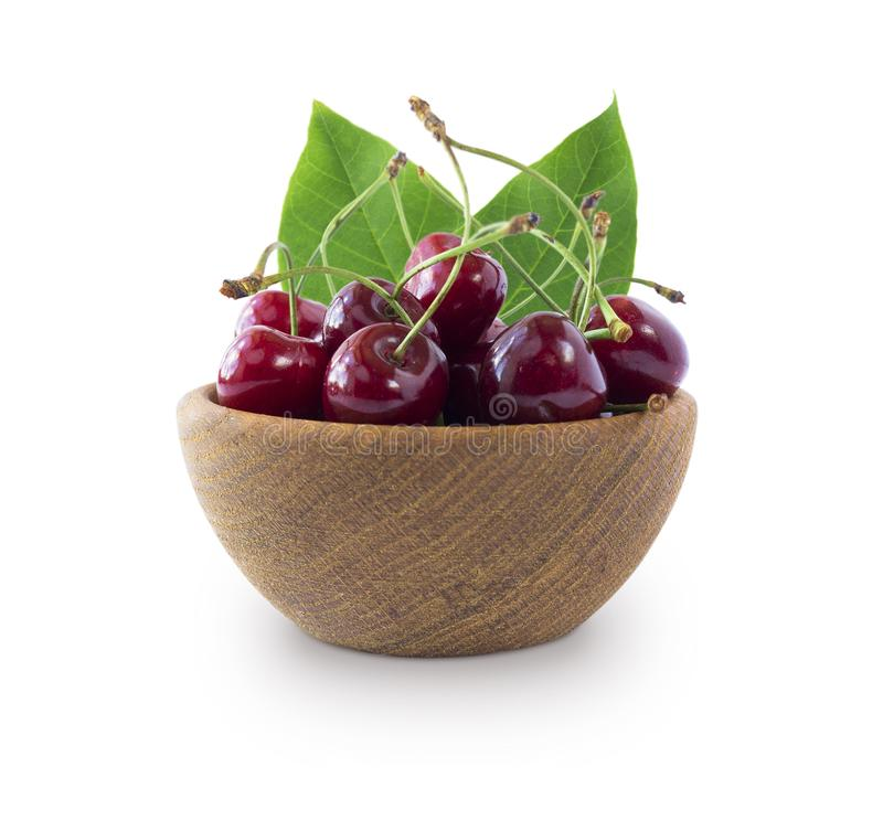 Sweet cherry berries isolated on white background cutout. stock images