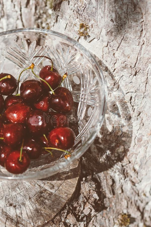 Sweet cherry in a crystal vase stock photos