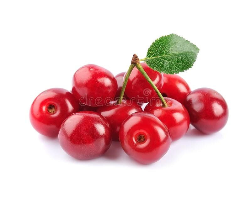 Sweet cherry fruits with leaves isolated royalty free stock photos