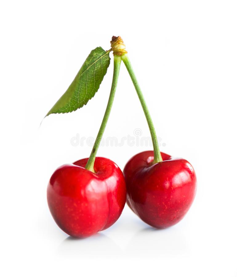 Sweet cherry on white royalty free stock photography