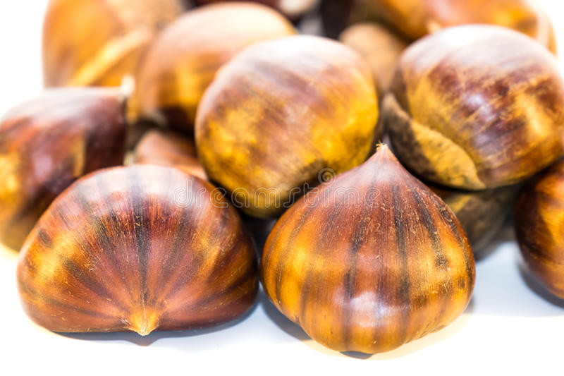 Download Sweet Chestnuts Isolated On White Stock Photo - Image: 83703772