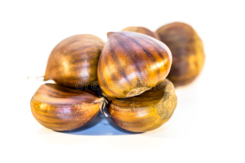 Download Sweet Chestnuts Isolated On White Stock Photo - Image: 83703982