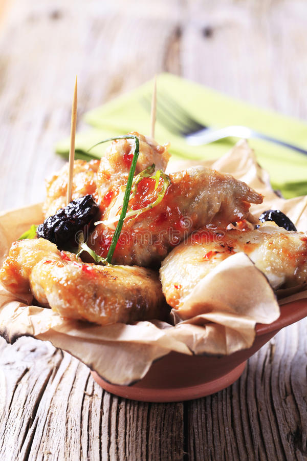 Sweet chili chicken wings stock images
