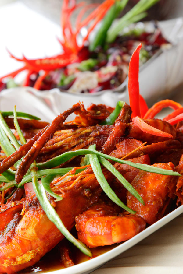 Download Sweet Chili Prawn stock image. Image of lunch, green - 18733627