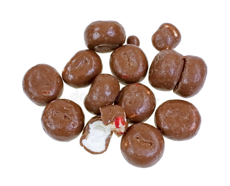 Sweet Chocolate Covered Peppermints. A group of sweet chocolate covered peppermints royalty free stock images