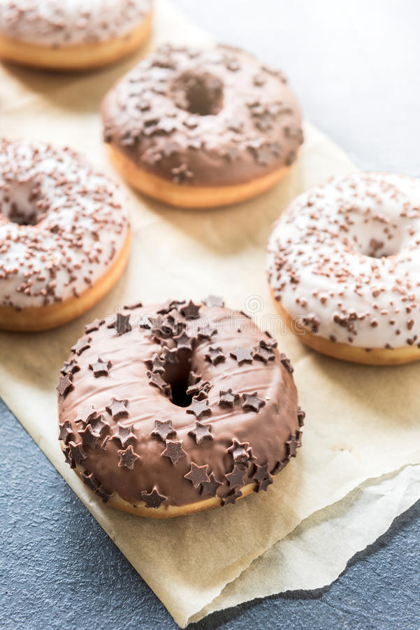 Sweet chocolate donuts stock image
