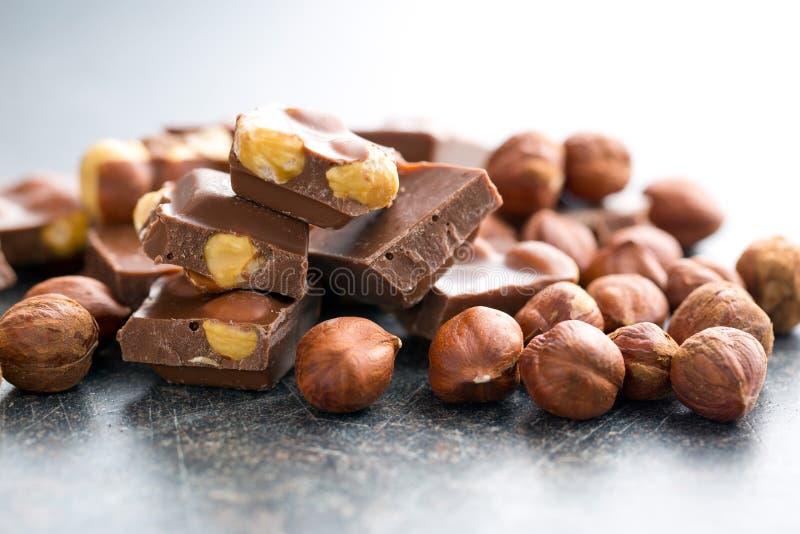 Sweet chocolate with hazelnuts royalty free stock image