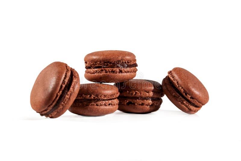 Sweet chocolate homemade macarons isolated on white background royalty free stock photo