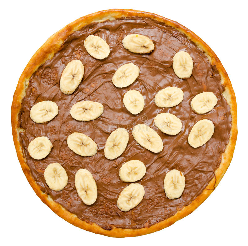Sweet chocolate pizza royalty free stock photo
