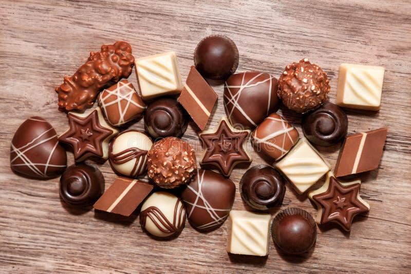 Sweet chocolate pralines stock photos